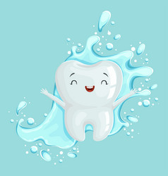 Cute healthy white cartoon tooth character with vector