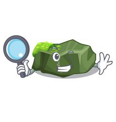 Detective cartoon moss grow on sea rock vector
