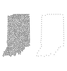dot contour map of indiana state vector image