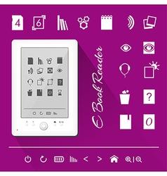 Electronic book e book reader Icons vector