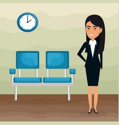 Elegant businesswoman in the waiting room vector
