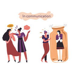 Extrovert and introvert comparison behavior vector