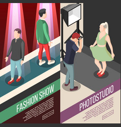 Fashion industry isometric banners vector