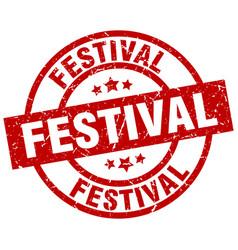 Festival round red grunge stamp vector