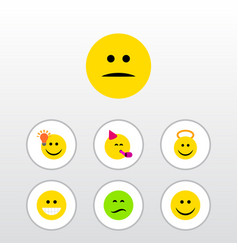 Flat icon gesture set of party time emoticon vector