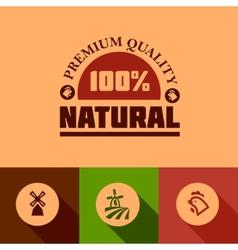 Flat natural food icons vector