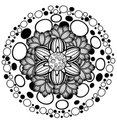 Flower ornament black and white2 vector
