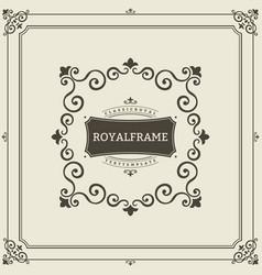 frame template vintage ornament greeting vector image