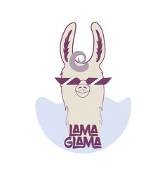 Funny lama in sunglasses with curly hair vector