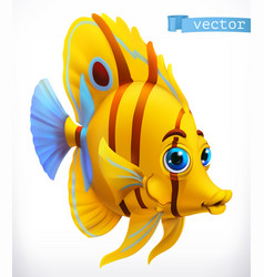 Funny tropical fish 3d icon vector