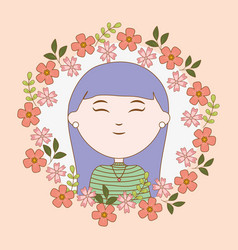 girl portrait flowers cartoon character vector image