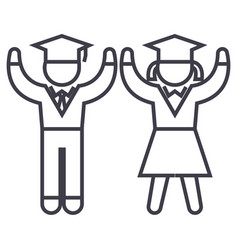 graduationstudentsteaching people line vector image