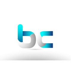 Grey blue alphabet letter bc b c logo 3d design vector