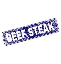 grunge beef steak framed rounded rectangle stamp vector image