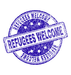 grunge textured refugees welcome stamp seal vector image