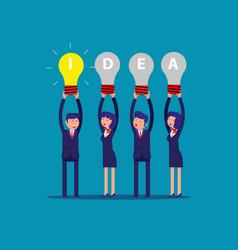 Happy business team holding idea light bulbs vector