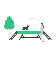 happy woman training dog in park or special area vector image