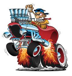 Highboy hot rod race car cartoon vector