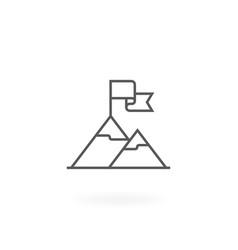 icon flag on mountain vector image