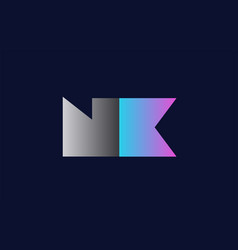 initial alphabet letter nk n k logo company icon vector image