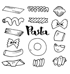 Italian Pasta collection sketches Hand vector image
