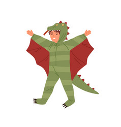 joyful boy wearing dragon costume having fun vector image