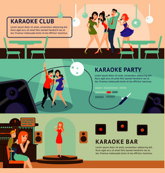 karaoke party horizontal banners vector image