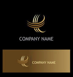 letter e curve gold logo vector image