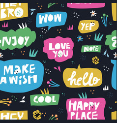 lettering in speech bubbles seamless pattern vector image