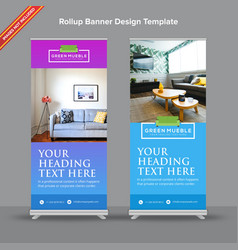 Linear gradient rollup banner in aqua and violet vector