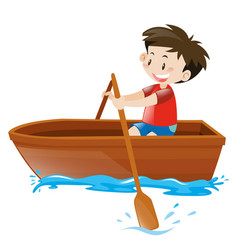 little boy in red shirt on rowboat vector image