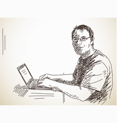 man with computer vector image