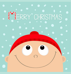 merry christmas candy cane baby boy wearing red vector image