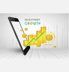mobile phone 3d and graph gold price charts vector image