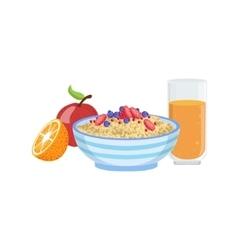 Muesli Fruit And Orange Juice Breakfast Food vector image