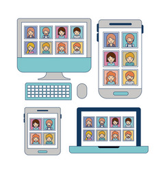 multimedia set device tech on white background vector image