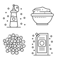 Mustard icons set outline style vector