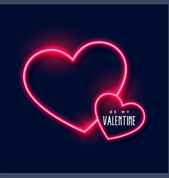 neon hearts background for valentines day vector image