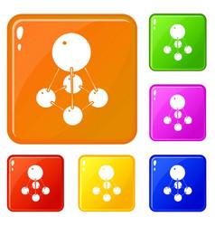 Nitromethane icons set color vector
