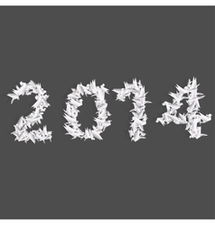 number 2014 with origami birds vector image
