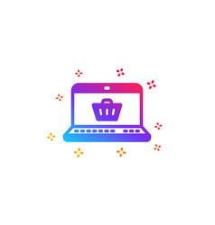 online shopping cart icon laptop sign vector image
