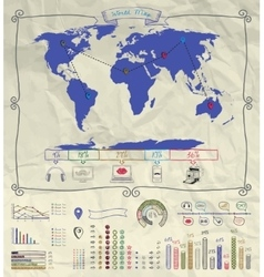 Pen Drawing Warld Map Infographics on Crumpled vector