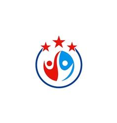 People partner happy star abstract logo vector