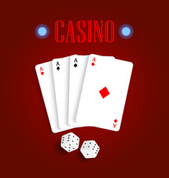 playing cards and dice on a red table vector image