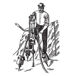 Pneumatic rock drill vintage vector