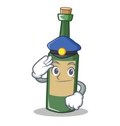 Police wine bottle character cartoon vector