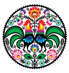 Polish floral embroidery with roosters pattern vector