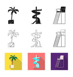Pool and swimming symbol vector