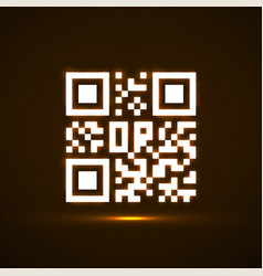 qr code neon icon glowing logo vector image