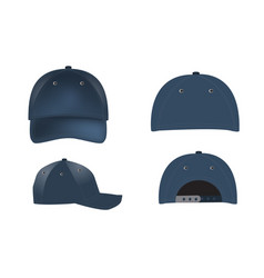 realistic baseball caps - front back and vector image